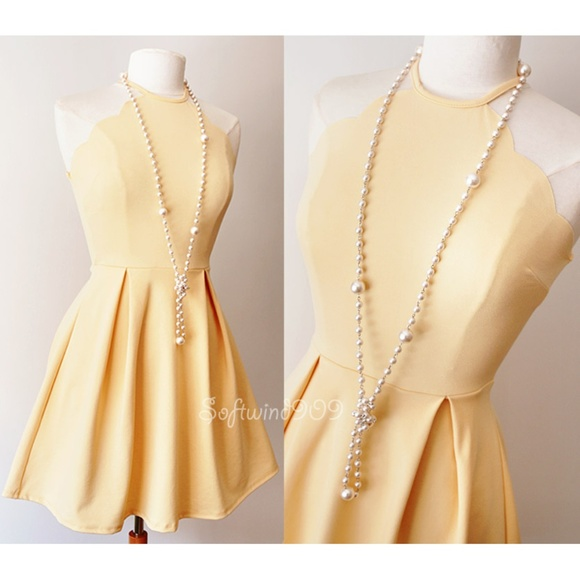 bab4686c7d5 Charlotte Russe Dresses   Skirts - Yellow Scalloped Bib Neck Pleated Skater  Dress